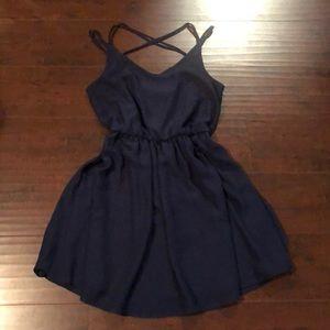 🔵By & By Navy Blue Skater Mini Dress